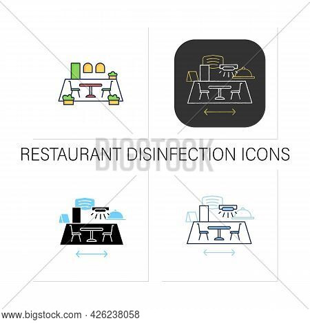 Restaurant Disinfection Icons Set.ultraviolet Light Disinfection.furniture Disinfect.restaurants New