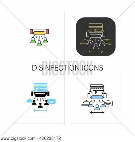 Disinfection Icons Set.ultraviolet Light Disinfection People. Health Protection. Restaurants New Nor