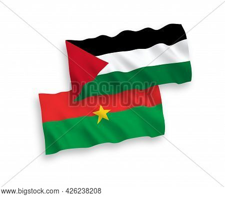 National Fabric Wave Flags Of Burkina Faso And Palestine Isolated On White Background. 1 To 2 Propor
