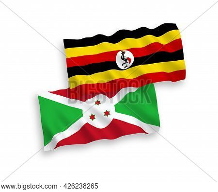 National Fabric Wave Flags Of Burundi And Uganda Isolated On White Background. 1 To 2 Proportion.
