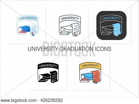 University Graduation Icons Set. Successful Training Completion. Books And Graduate Hat. Diploma.mas