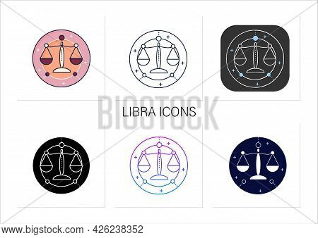 Libra Icons Set.seventh Fire Sign In Zodiac. Scales Birth Symbol. Mystic Horoscope Sign. Astrologica