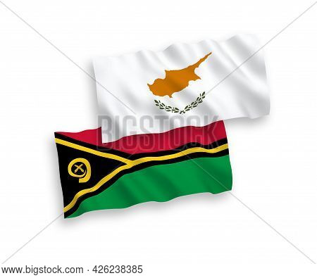 National Fabric Wave Flags Of Cyprus And Republic Of Vanuatu Isolated On White Background. 1 To 2 Pr