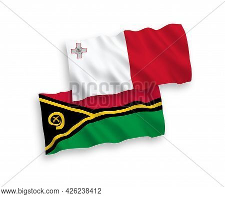 National Fabric Wave Flags Of Malta And Republic Of Vanuatu Isolated On White Background. 1 To 2 Pro