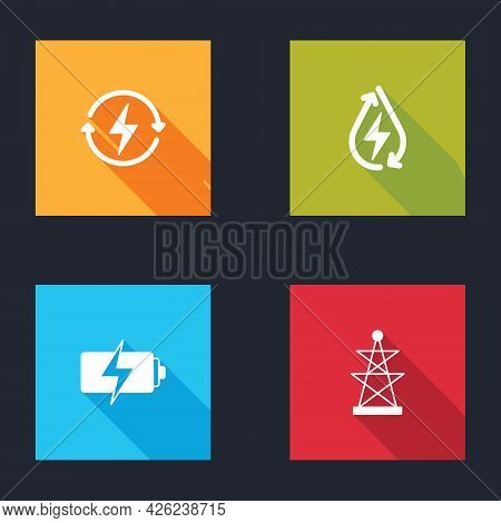 Set Recharging, Water Energy, Battery And Electric Tower Icon. Vector