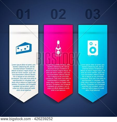 Set Piece Of Cake, Champagne Bottle And Stereo Speaker. Business Infographic Template. Vector