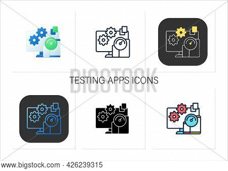 Testing Apps Icons Set.testing New Applications Inside Different Platforms.trial New Operation Syste