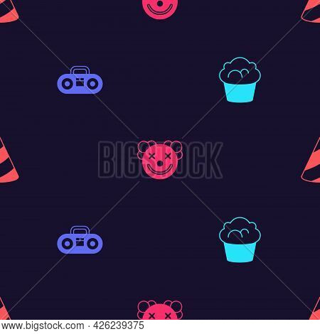 Set Muffin, Home Stereo With Two Speakers, Clown Head And Party Hat On Seamless Pattern. Vector