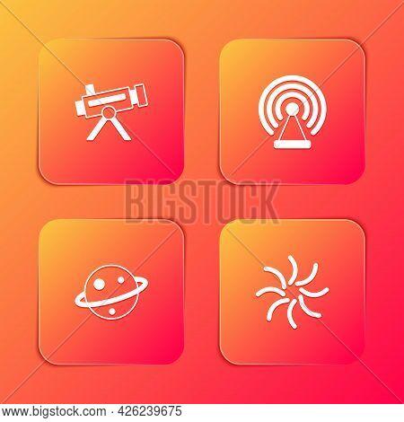 Set Telescope, Radar, Planet Saturn And Black Hole Icon. Vector