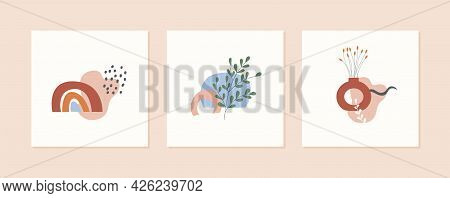 Set Of Autumn Mood Abstract Square Card Templates With Vase, Plants, Branches, Rainbow And Geometric