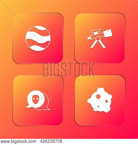 Set Planet, Telescope, Alien And Asteroid Icon. Vector