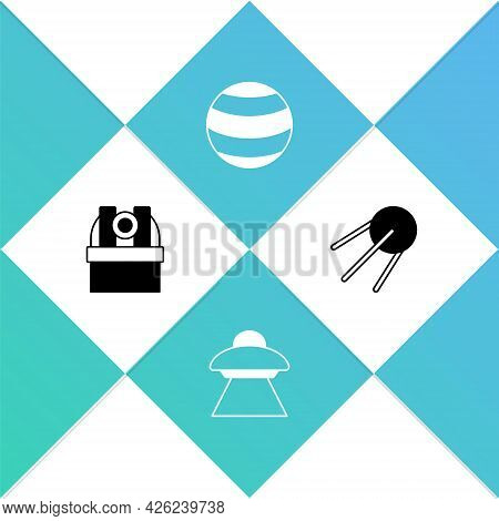 Set Astronomical Observatory, Ufo Flying Spaceship, Planet And Satellite Icon. Vector