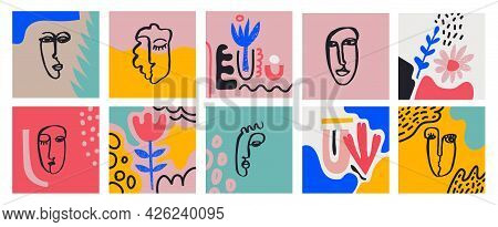 Vecto Set Of Cards With Hand Drawn Faces, Leaves, Flowers, Abstract Shapes. Doodle, Art Modern Poste
