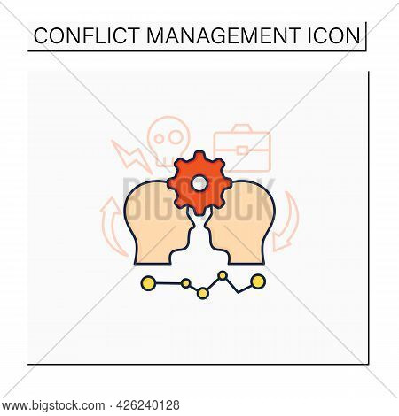 Conflict Management Color Icon. Conflict Between Two Persons. Successfully Handles, Resolves Issues