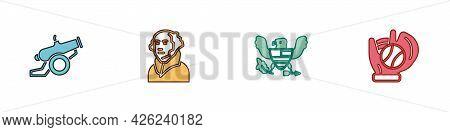 Set Cannon, George Washington, Eagle And Baseball Glove With Ball Icon. Vector