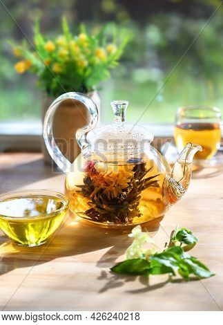 Glass Tea Tea Pot With A Blooming Tea Flower Stands On The Table In The Rays Of The Sun