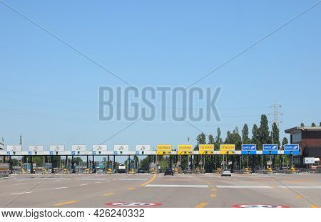 Mestre, Ve, Italy - July 5, 2020:  Toll Booth Of The Italian Motorway With Cars And Preferential Lan
