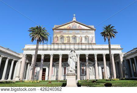 Rome, Rm, Italy - August 16, 2020: Basilica Of Saint Paul Outdise The Wall Called San Paolo Fuori Le