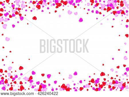 Violet Confetti Background White Vector. Love Texture Heart. Pink Sweetheart Backdrop. Tender Heart