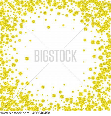 Yellow Fruit Background White Vector. Citrus Isolated Decoration. Juicy Isolated Lemon. Green Food D