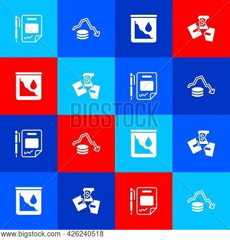Set Contract Money And Pen, Dollar Rate Decrease, Drop In Crude Oil Price And Tearing Banknote Icon.