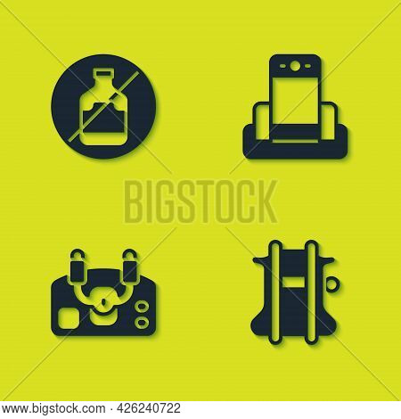 Set No Alcohol, Parachute, Aircraft Steering Helm And Metal Detector Airport Icon. Vector