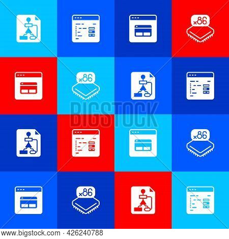 Set Flowchart, Software, Search Engine And Processor With Microcircuits Cpu Icon. Vector