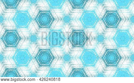 Seamless Hexagon Pattern, Abstract Cyan, Teal And White Textured Kaleidoscope Ornament. Symmetric Ge