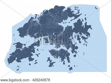 Hong Kong Map. Detailed Vector Map Of Hong Kong City Administrative Area. Cityscape Poster Metropoli