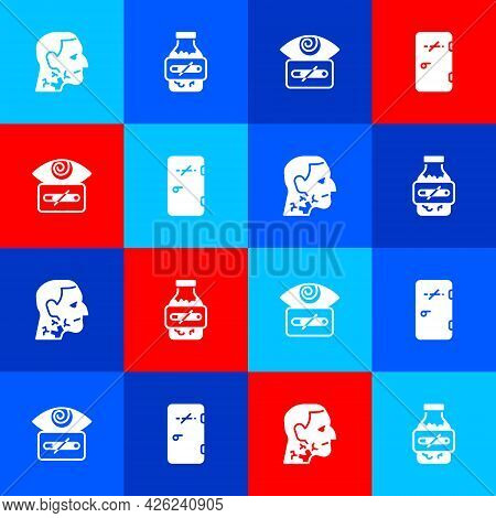 Set Throat Cancer, Nicotine Gum In Blister Pack, Hypnosis And No Smoking Area Icon. Vector