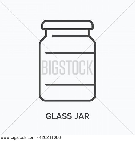 Glass Jar Flat Line Icon. Vector Outline Illustration Of Drink Container. Black Thin Linear Pictogra