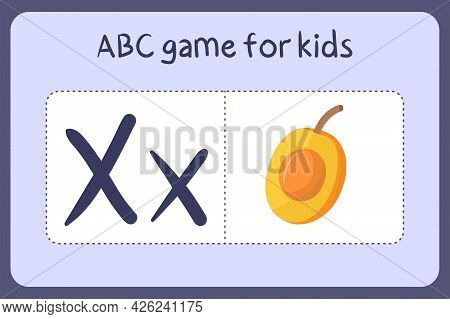 Kid Alphabet Mini Games In Cartoon Style With Letter X - Ximenia . Vector Illustration For Game Desi