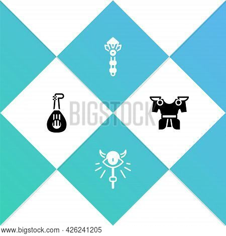 Set Lute, Magic Staff, Wand And Body Armor Icon. Vector
