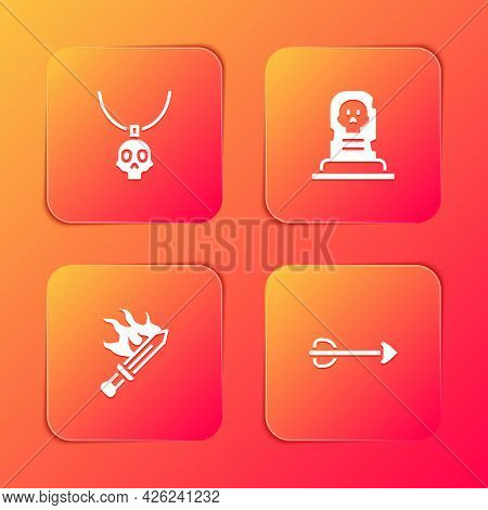 Set Necklace Amulet, Grave With Tombstone, Sword For Game And Arrow Icon. Vector