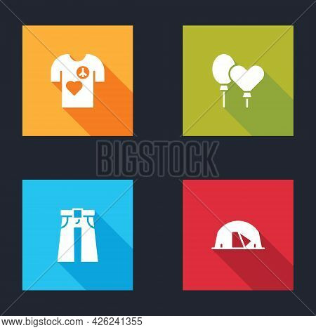 Set Peace T-shirt Print Stamp, Balloons, Jeans Wide And Tourist Tent Icon. Vector