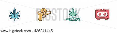 Set Marijuana, No War, Joint, Spliff And Retro Audio Cassette Tape Icon. Vector