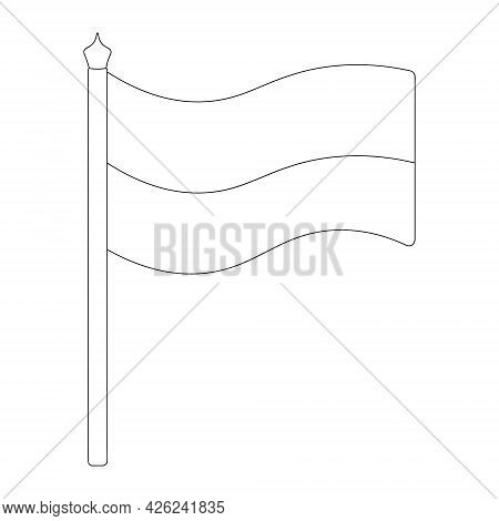 Flag Of Ukraine, Poland. Sketch. Vector Illustration. Coloring Book For Children. Two-tone Fabric. T