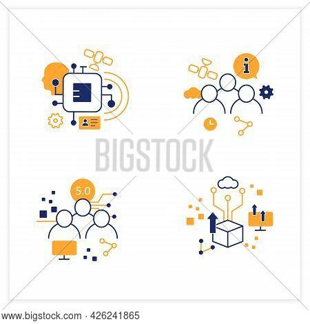 Digital Transformation Flat Icons Set. Chipization, Digital Potential, Society 5.0, Information Soci