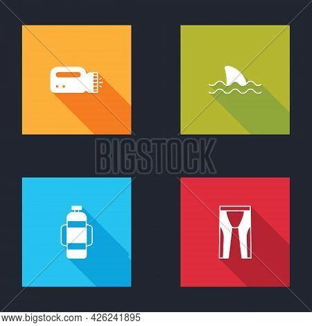 Set Flashlight For Diver, Shark, Aqualung And Wetsuit Scuba Diving Icon. Vector