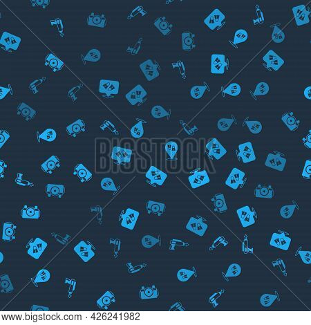Set Fishing Harpoon, Flippers For Swimming, And Photo Camera Diver On Seamless Pattern. Vector