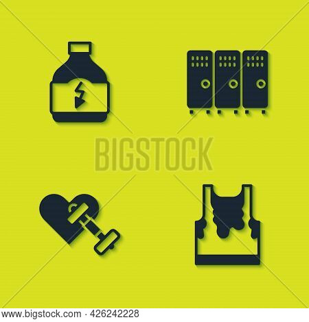 Set Sports Nutrition, Sweaty Sleeveless T-shirt, Dumbbell With Heart And Locker Changing Room Icon.
