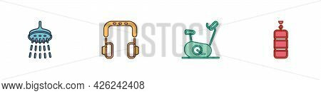 Set Shower, Headphones, Stationary Bicycle And Punching Bag Icon. Vector