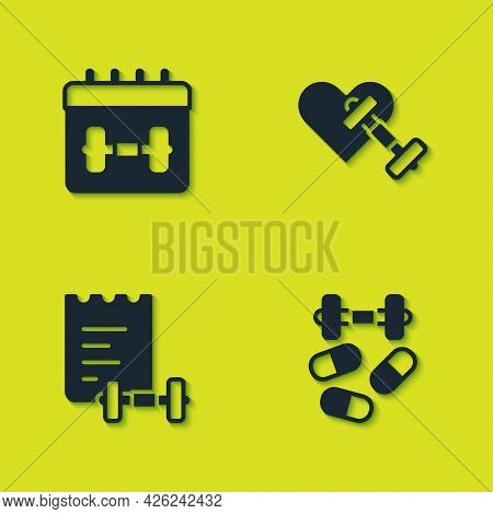 Set Calendar Fitness, Sports Doping With Dumbbell, Training Program And Dumbbell Heart Icon. Vector