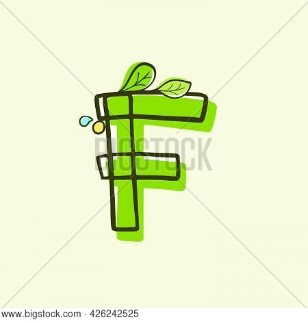 Eco Style Letter F Logo Hand-drawn With A Marker With Paint Shift Effect. Vector Cartoon Typeface Fo