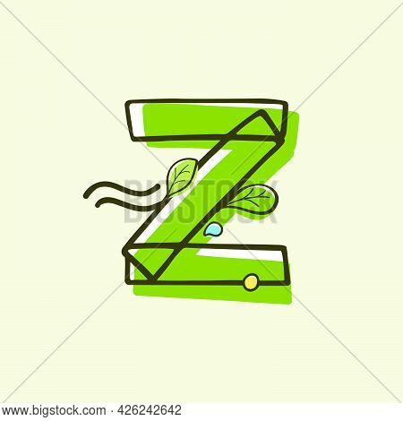 Eco Style Letter Z Logo Hand-drawn With A Marker With Paint Shift Effect. Vector Cartoon Typeface Fo