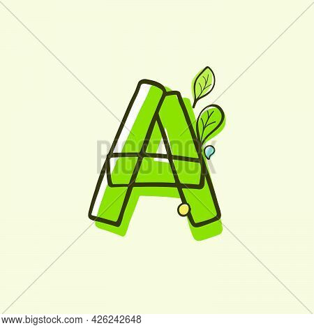 Eco Style Letter A Logo Hand-drawn With A Marker With Paint Shift Effect. Vector Cartoon Typeface Fo
