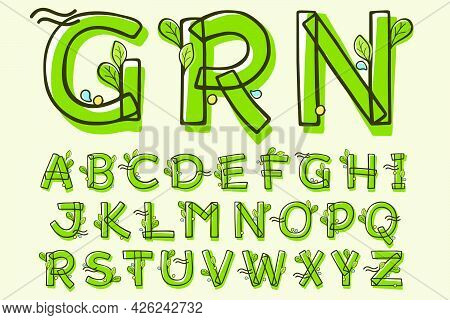 Eco Style Alphabet Hand-drawn With A Marker With Paint Shift Effect. Vector Cartoon Typeface For Chi