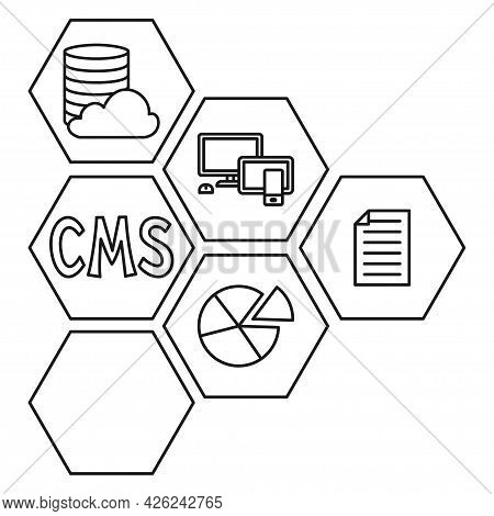 Line Art Black And White Pattern Of Cms Elements. Hexagon Arrow Point Right.