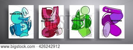 Graphics Of Contemporary Art. Abstract Covers Set, Cover Minimal Design. Geometric Background. Ideal