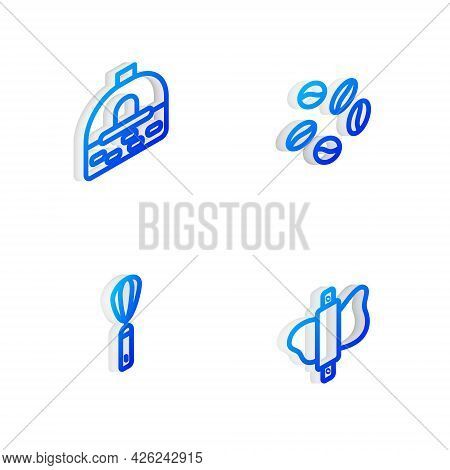 Set Isometric Line Coffee Beans, Brick Stove, Kitchen Whisk And Rolling Pin On Dough Icon. Vector